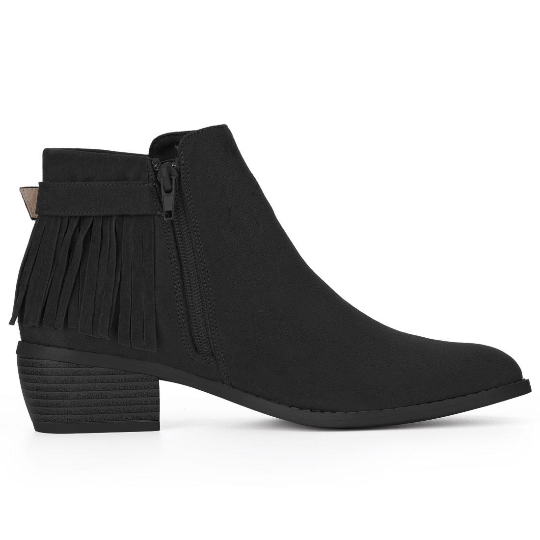 Women Buckle Strap Tassel Low Chunky Heel Booties Black US 8