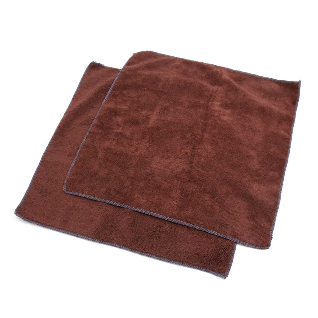 "2Pcs Microfiber Car Wash Cleaning Towel Buffing Cloth Tool Brown 15.7"" x 15.7"""