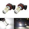 2 Pcs H11 White 2835 SMD 66 LEDs Car Fog Driving Daytime Running Light Lamp Bulb 6500K 10-24V 33W