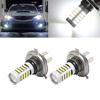 2 Pcs H4 White 2835 SMD 66 LEDs Car Fog Driving Daytime Running Light Lamp Bulb 6500K 10-24V 33W