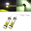 2 Pcs H3 12V 100W High Power 20 Yellow LED Projector Fog Driving Daytime Running Light Bulb for Car
