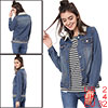 Women's Imitated Shearling Collar Denim Jacket Blue XS