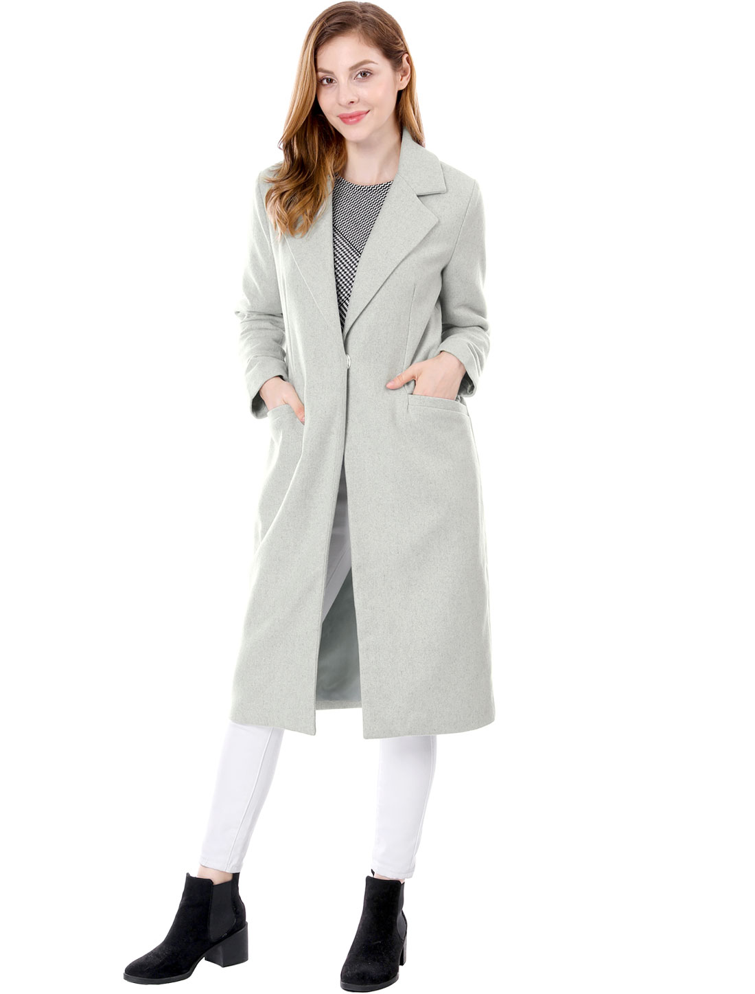 Women Notched Lapel One Button Long Worsted Coat Gray XL