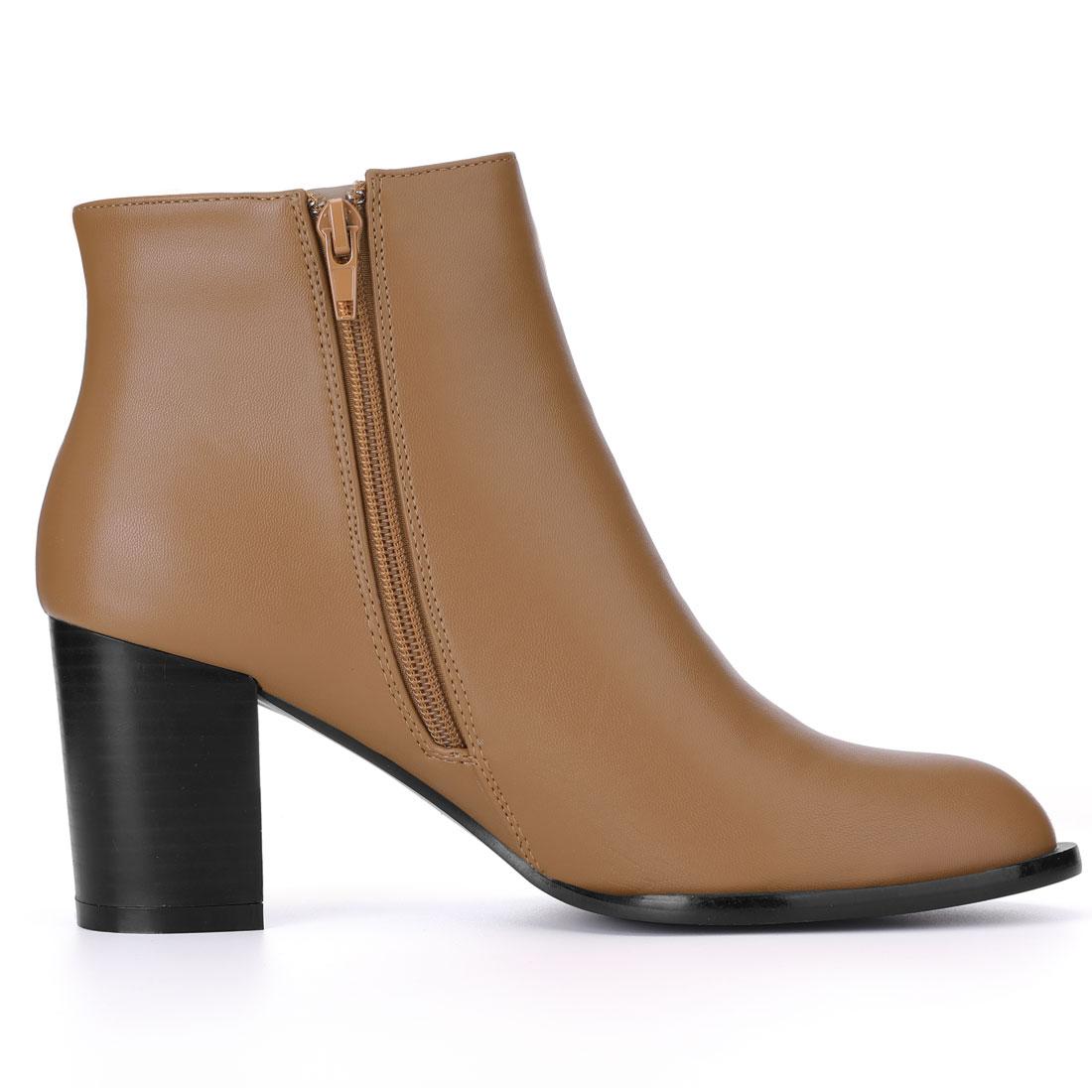 Women Block Heel Zipper Cutout Ankle Boots Brown US 7