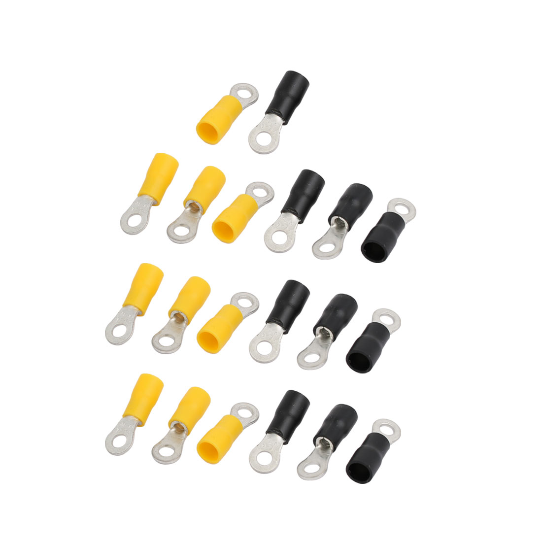 20pcs RV3.5-4 Pre Insulated Ring Crimp Terminal Yellow Black for AWG 14-12 Wire