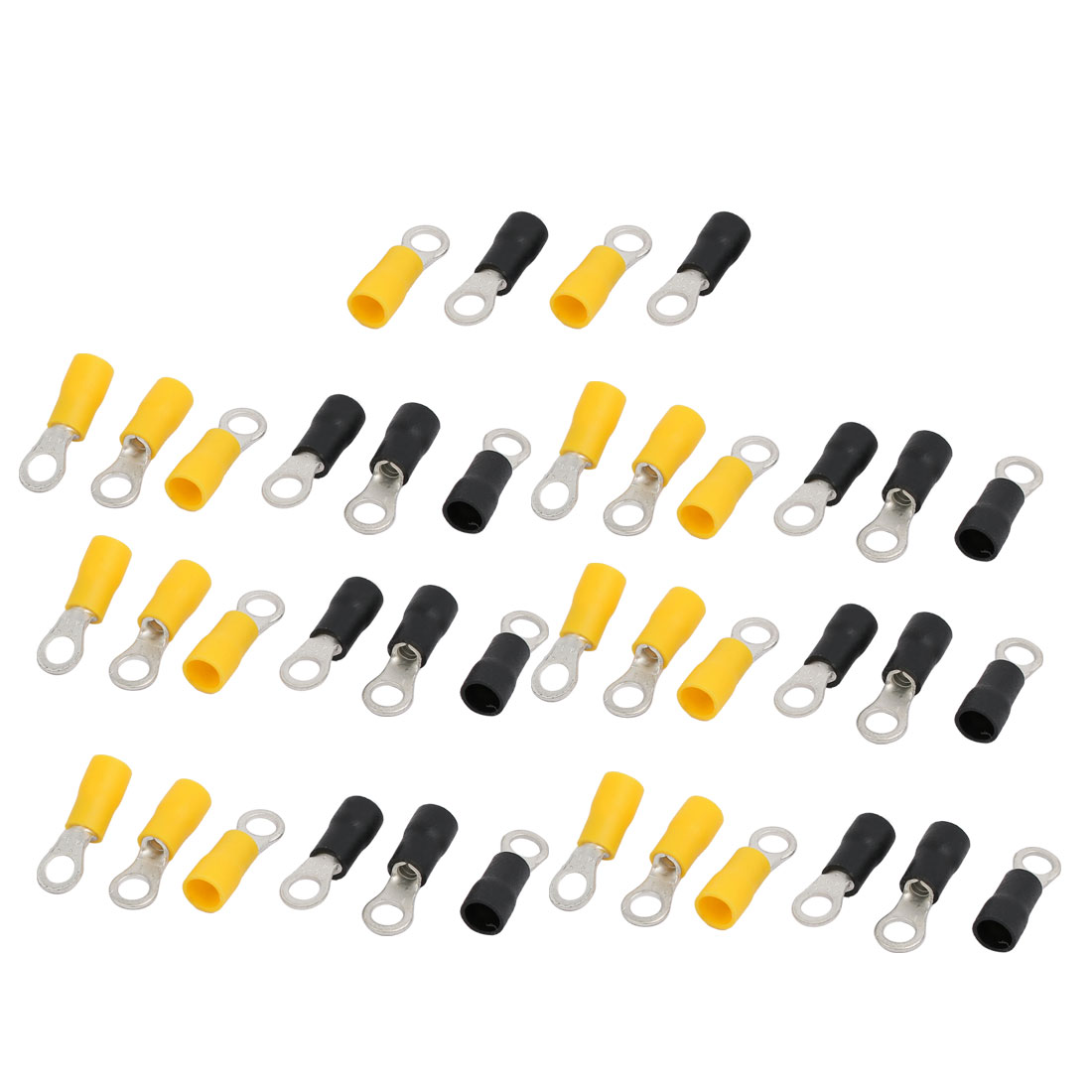 40pcs RV3.5-5 Pre Insulated Ring Crimp Terminal Yellow Black for AWG 14-12 Wire