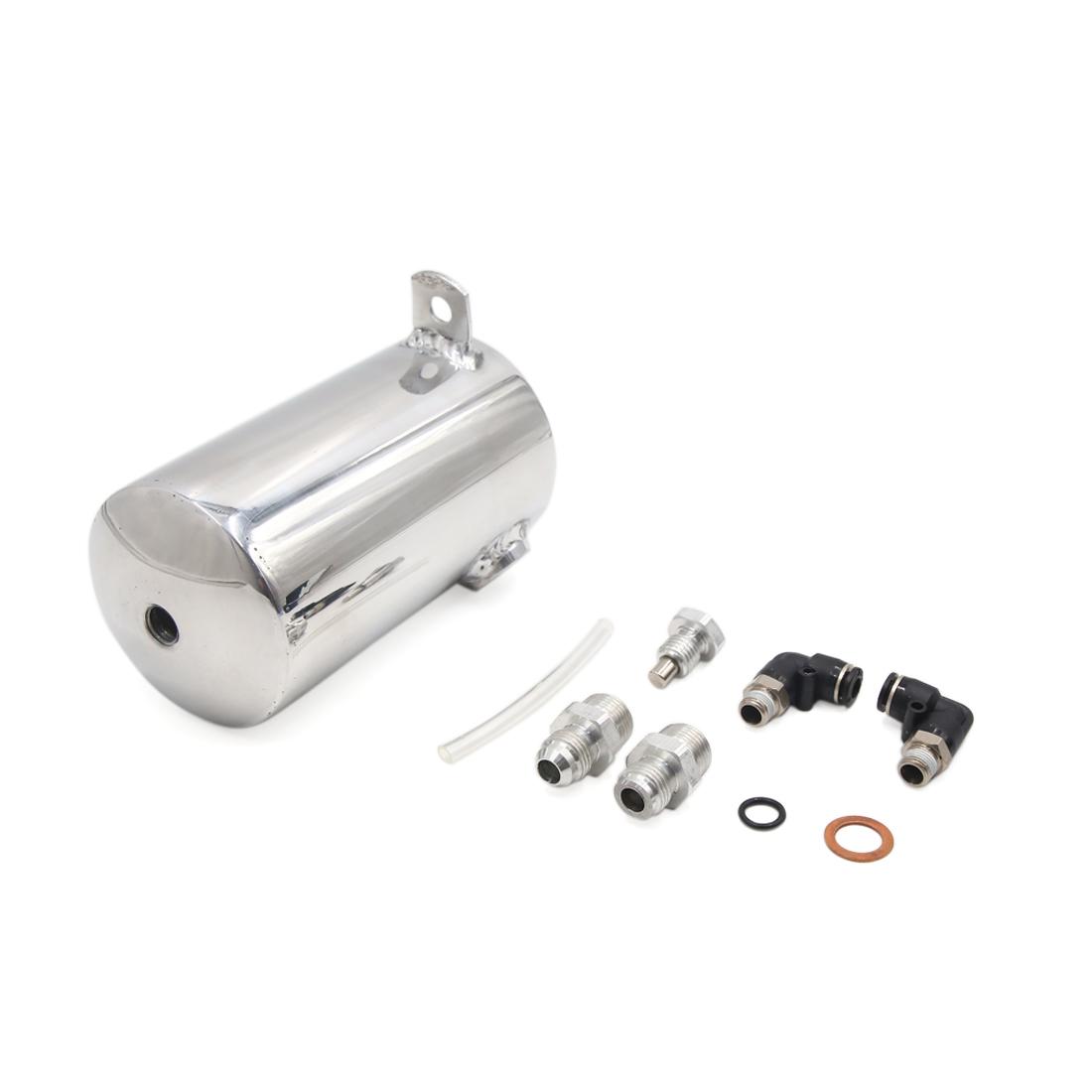 Universal 0.5L Silver Tone Car Coolant Overflow Radiator Water Tank Bottle Set