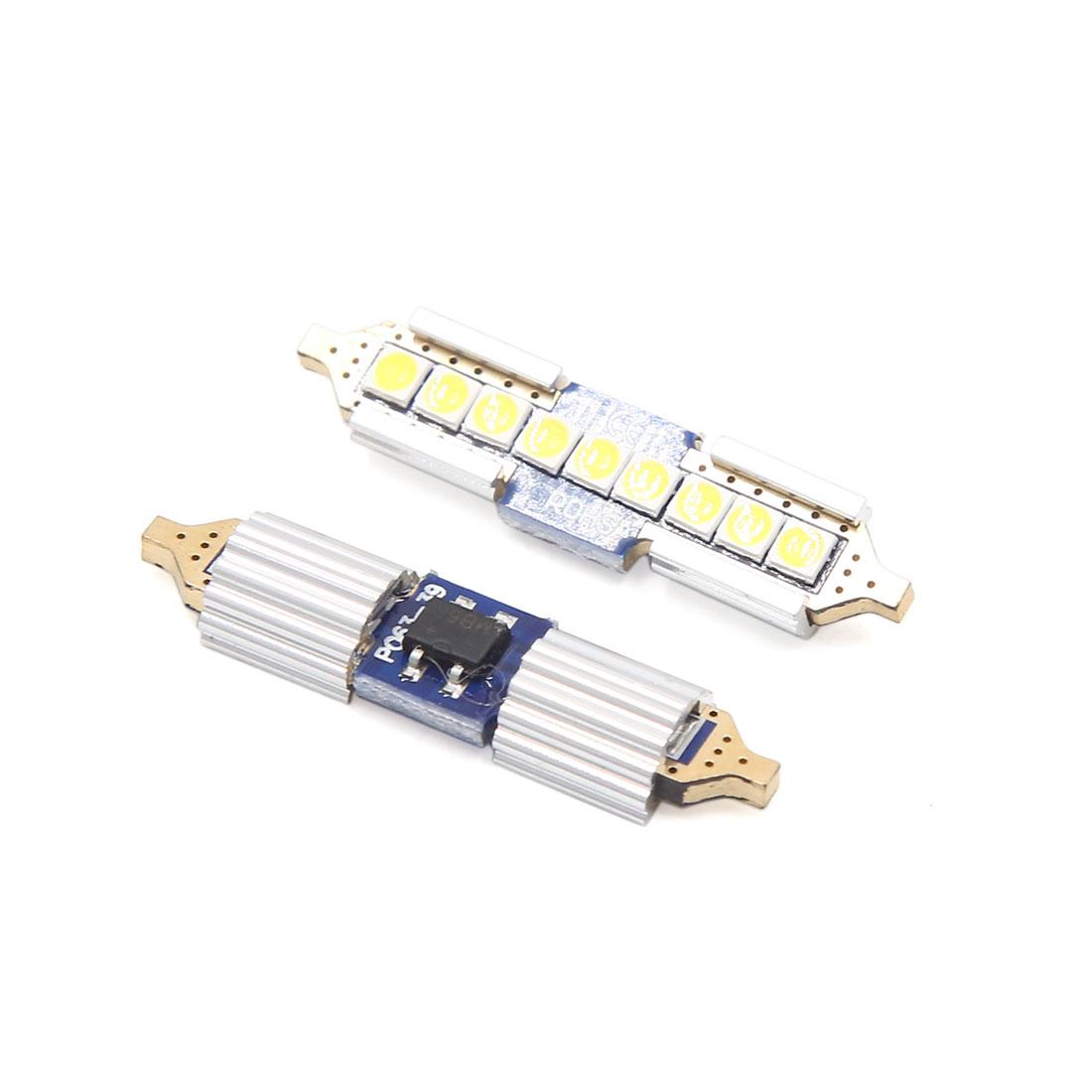 2pcs 39mm White 9 LED Festoon Dome Map Lights Internal Lamp for Car