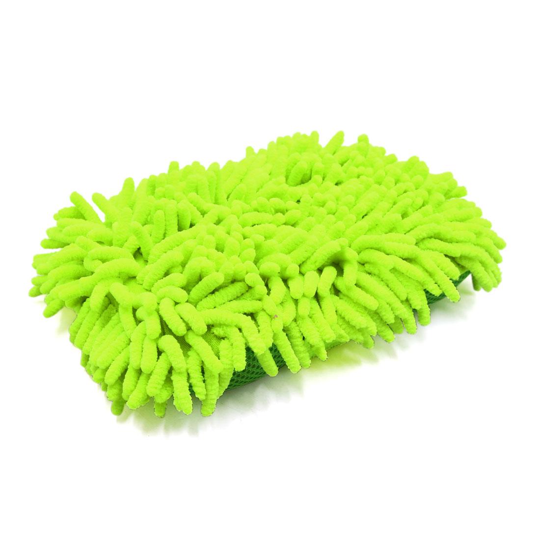Light Green Microfiber Sponge Pad Chenille Hand-Strap Car Clean Brush Tool