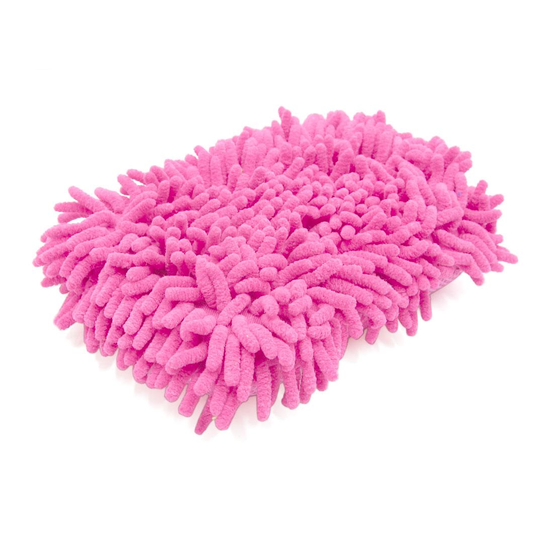 Pink Microfiber Sponge Pad Chenille Hand-Strap Car Clean Brush Tool