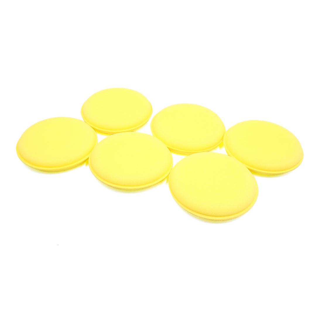 6pcs Yellow Car Vehicle Auto Waxing Polish Foam Sponge Cleaning Applicator Pads