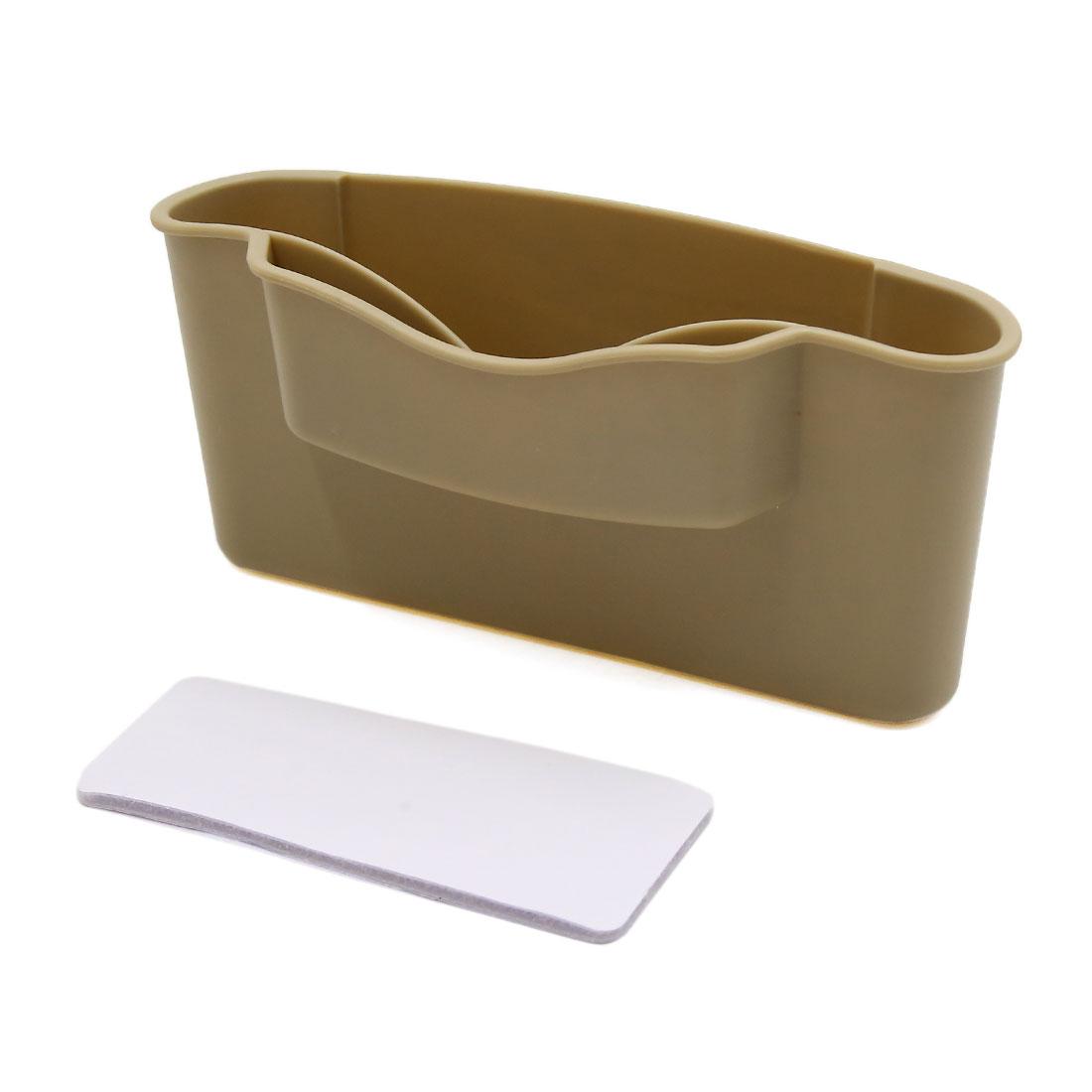 Beige Car Phone Card Storage Box Holder Vehicle Interior Organizer