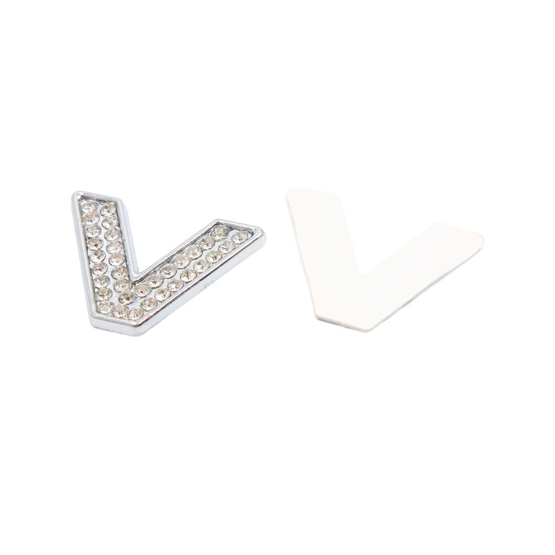 3D Silver Tone Metal Letter V Shaped Car Emblem Badge Sticker Decal Decoration
