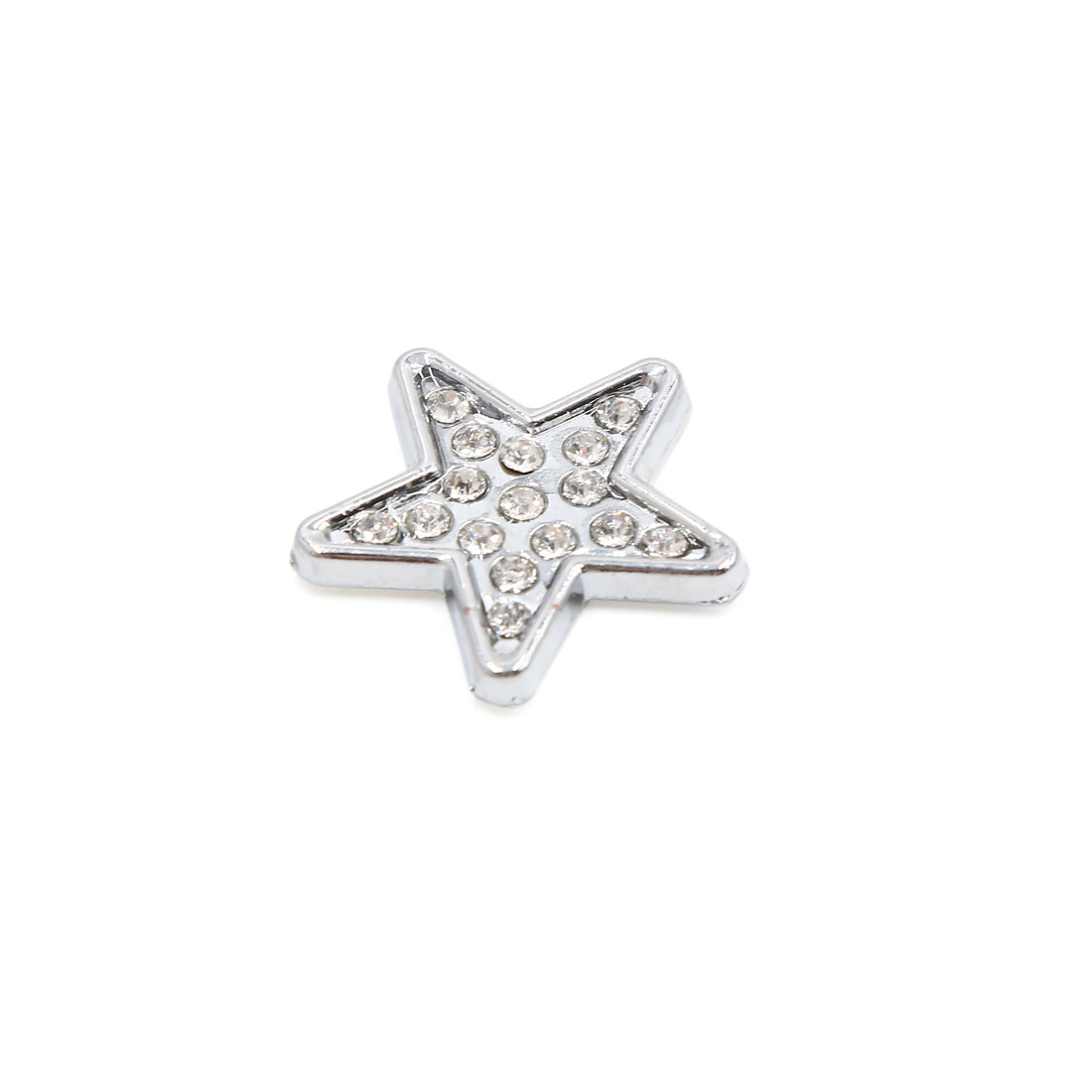 3D Silver Tone Metal Star Shaped Rhinestone Car Body Emblem Badge Sticker Decal
