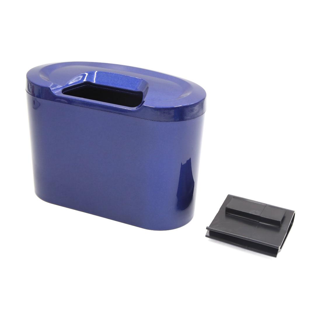 Blue Mini Auto Car Garbage Dust Case Holder Box Hanging Trash Bin Rubbish Can