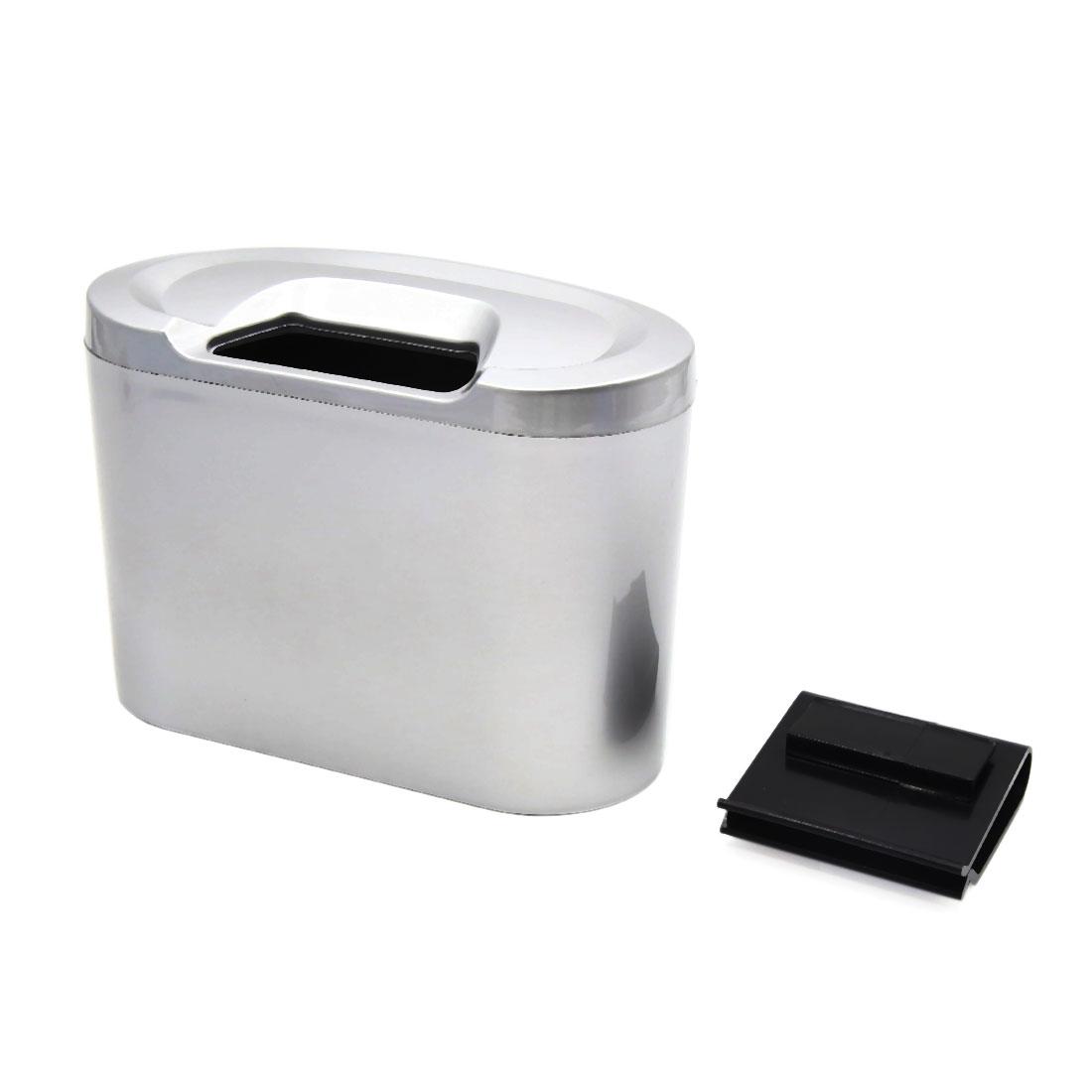 Silver Tone Mini Car Garbage Dust Case Holder Box Hanging Trash Bin Rubbish Can