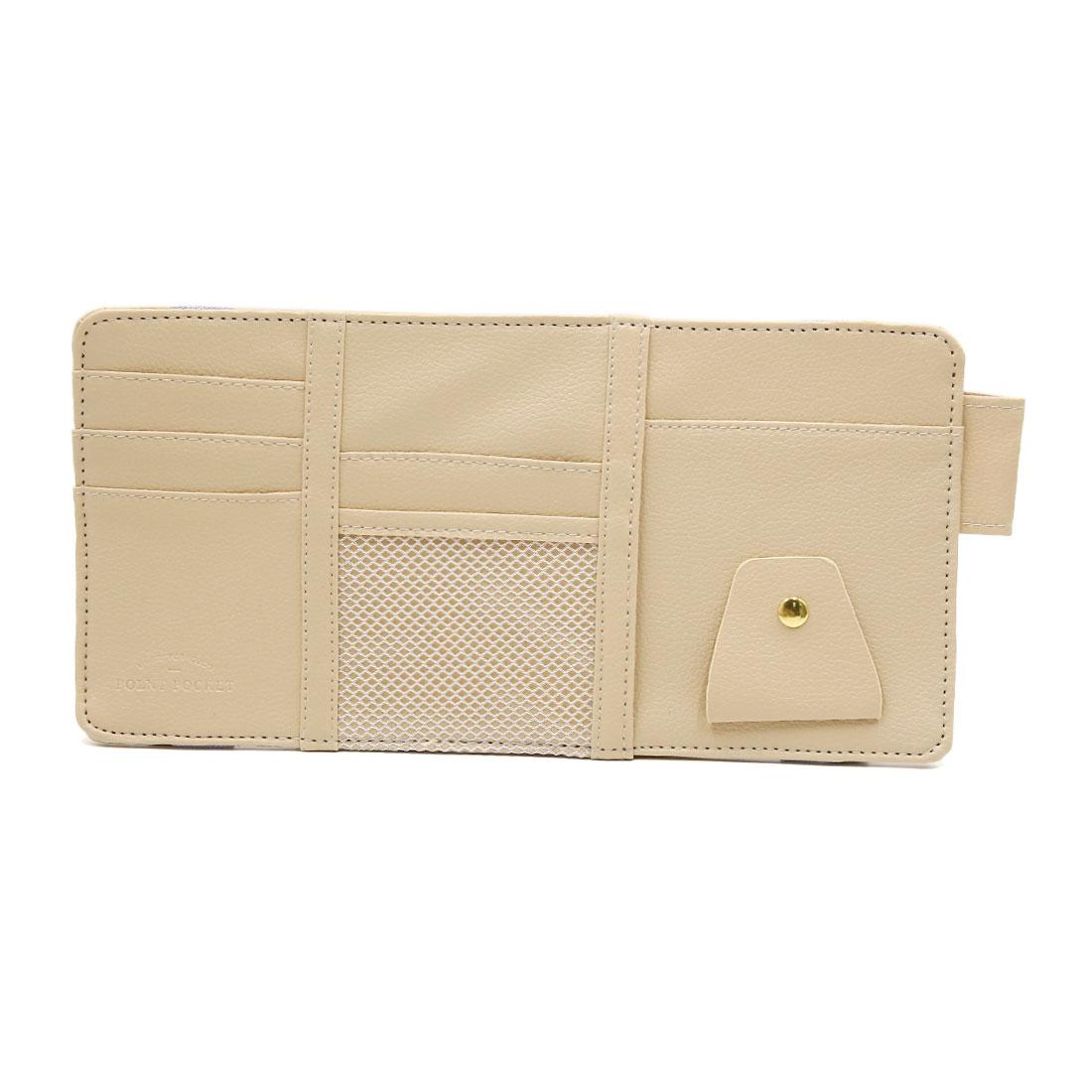 Beige Faux Leather Sunglasses Card Phone Car Sun Visor Storage Bag Point Pocket