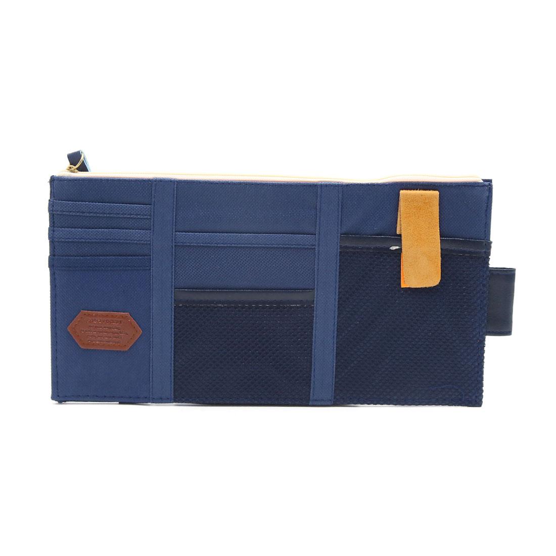 Blue Cloth Sunglasses Card Phone Car Sun Visor Storage Pouch Bag Point Pocket