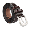 "Women Skinny Belt Double Stitched Metal Buckle 7/8"" Dark Brown"