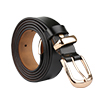 "Women Skinny Belt Metal Side Imitation Leather Pin Buckle 1 1/8"" Black"