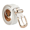 "Women Skinny Belt Metal Side Imitation Leather Pin Buckle 1 1/8"" White"