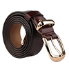 "Women Skinny Belt Metal Side Imitation Leather Pin Buckle 1 1/8"" Brown"
