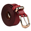 "Women Skinny Belt Metal Side Imitation Leather Pin Buckle 1 1/8"" Burgundy"