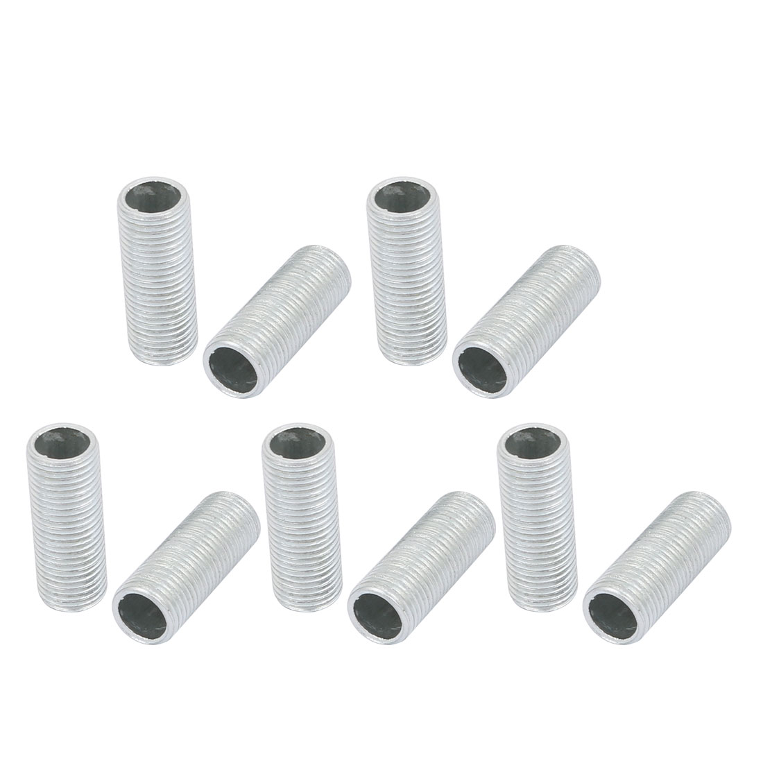 10Pcs M10 1mm Pitch Threaded Zinc Plated Pipe Nipple Lamp Parts 25mm Long