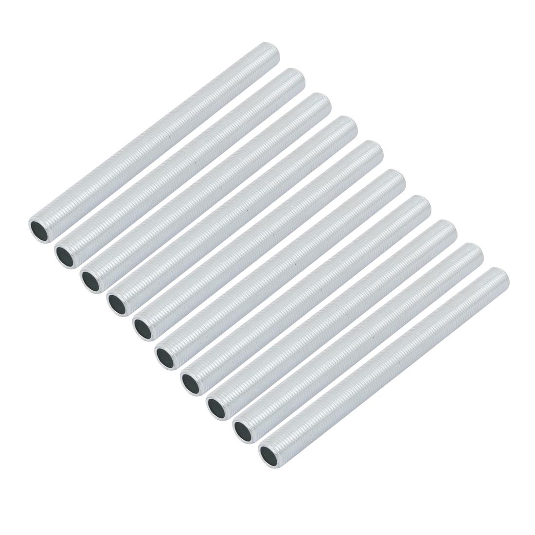 10 Pcs Metric M10 1mm Pitch Thread Zinc Plated Pipe Nipple Lamp Parts 120mm Long