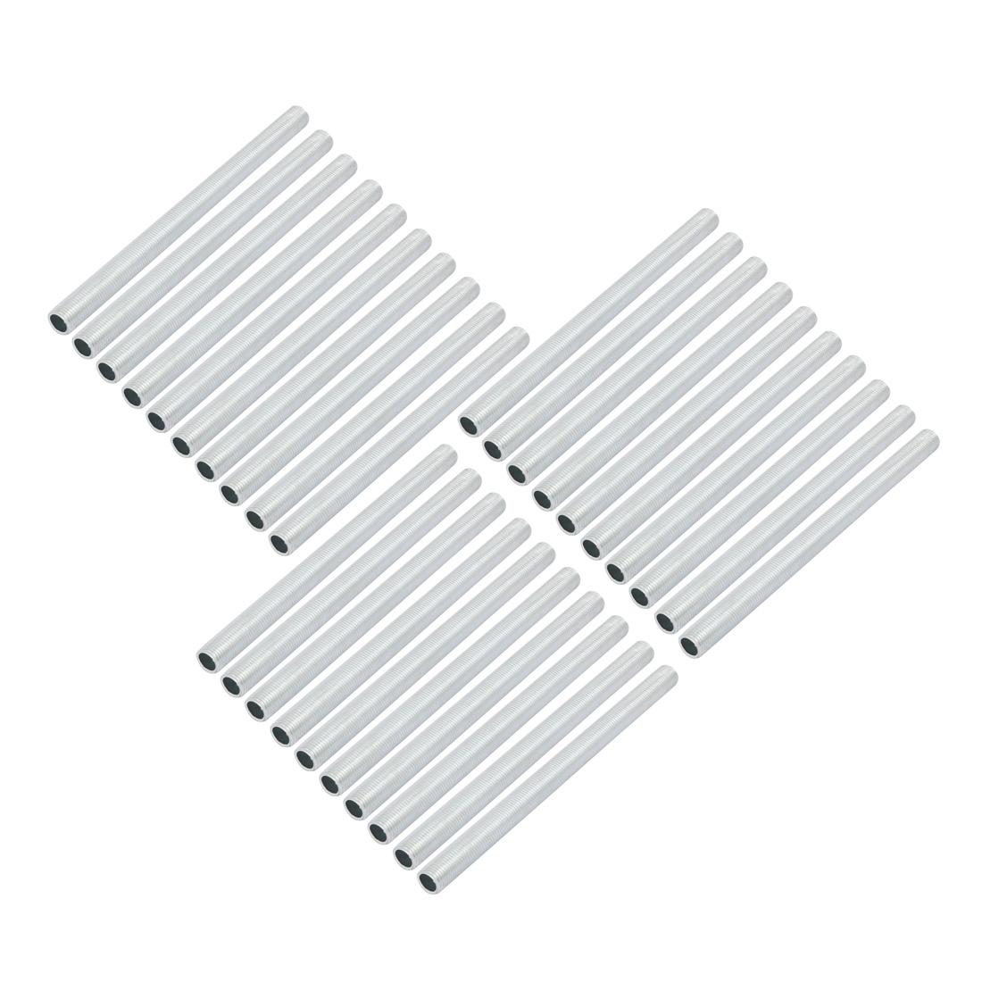 30 Pcs Metric M10 1mm Pitch Thread Zinc Plated Pipe Nipple Lamp Parts 140mm Long