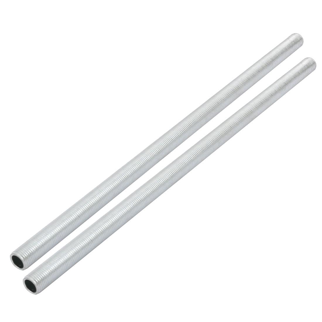 Metric M10 1mm Pitch Thread Zinc Plated Pipe Nipple Lamp Parts 250mm Long 2pcs