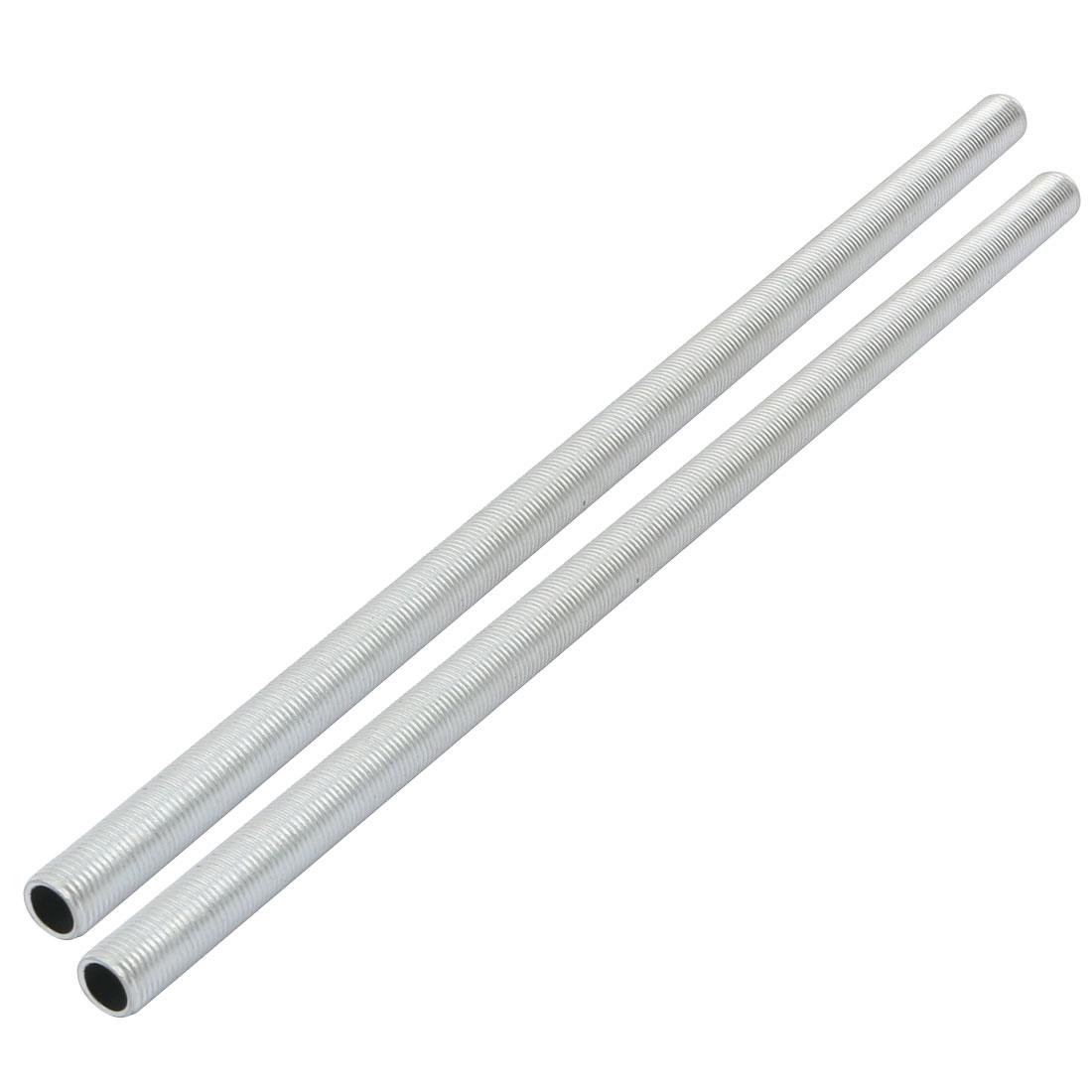 Metric M10 1mm Pitch Thread Zinc Plated Pipe Nipple Lamp Parts 255mm Long 2pcs