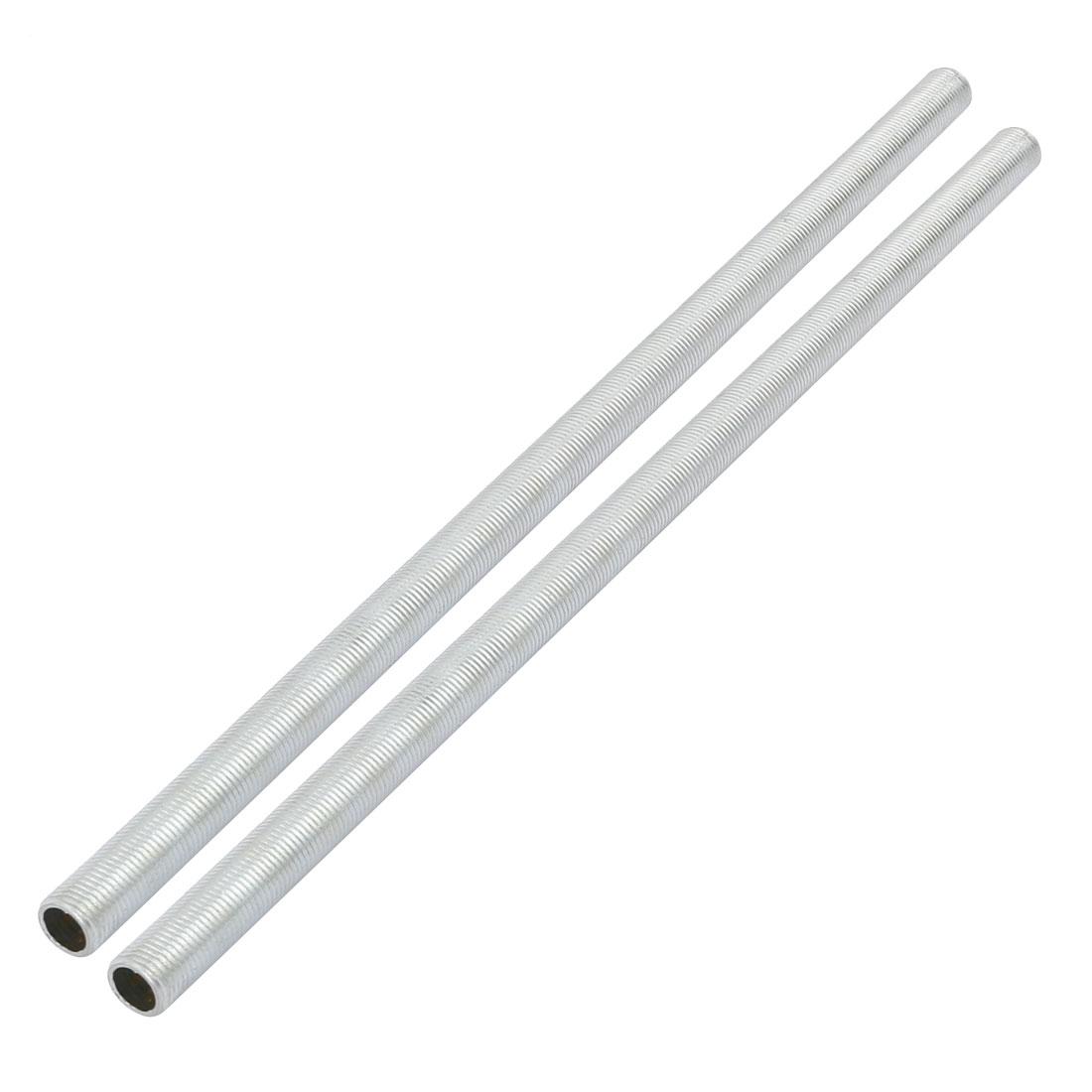 Metric M10 1mm Pitch Thread Zinc Plated Pipe Nipple Lamp Parts 260mm Long 2pcs