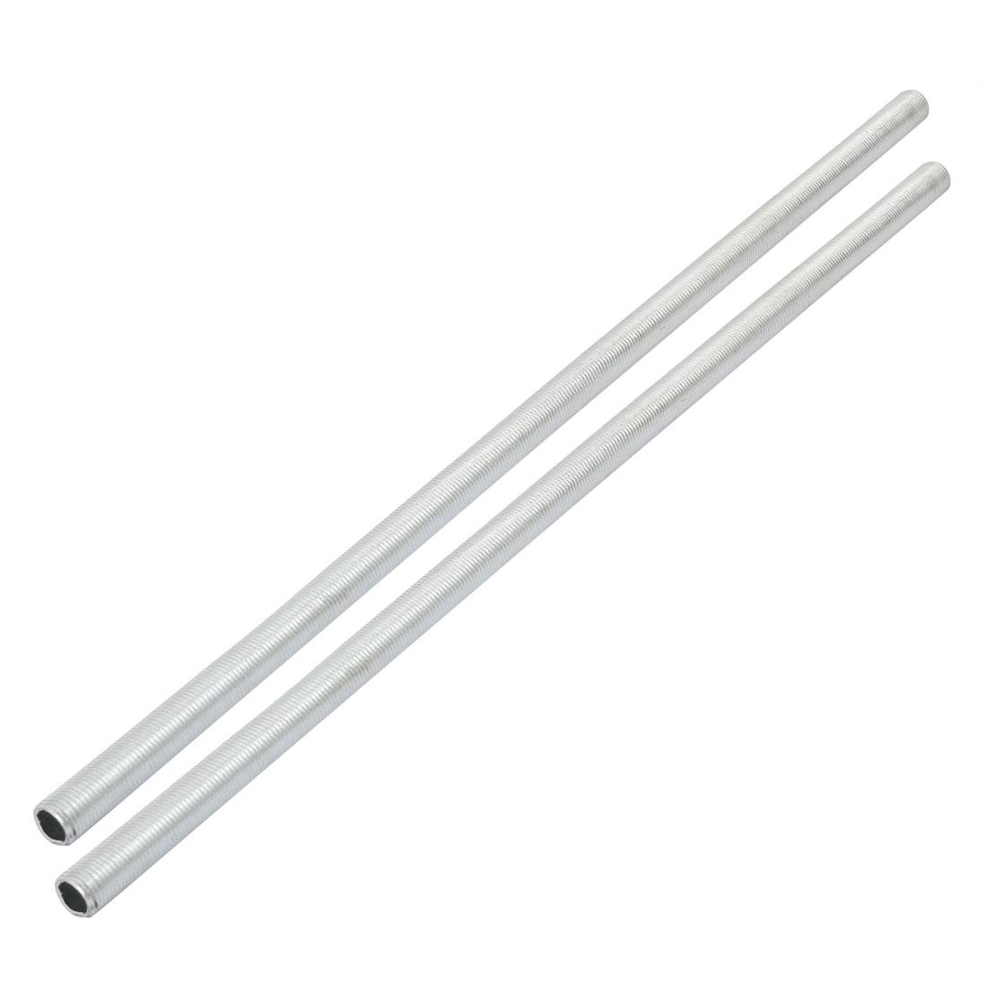 2pcs Metric M10 1mm Pitch Thread Zinc Plated Pipe Nipple Lamp Parts 33cm Long
