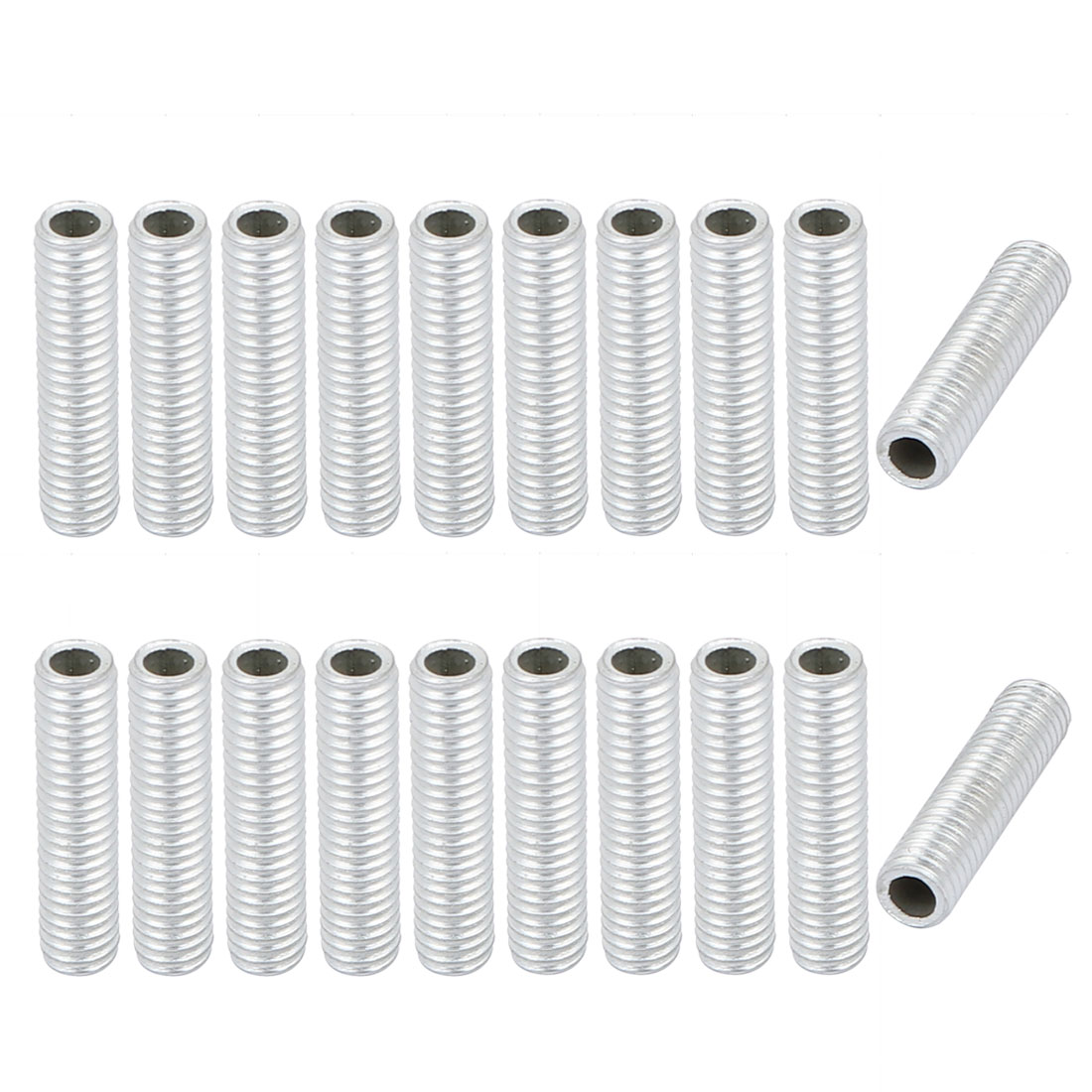 20Pcs M6 1mm Pitch Threaded Zinc Plated Pipe Nipple Lamp Parts 25mm Long
