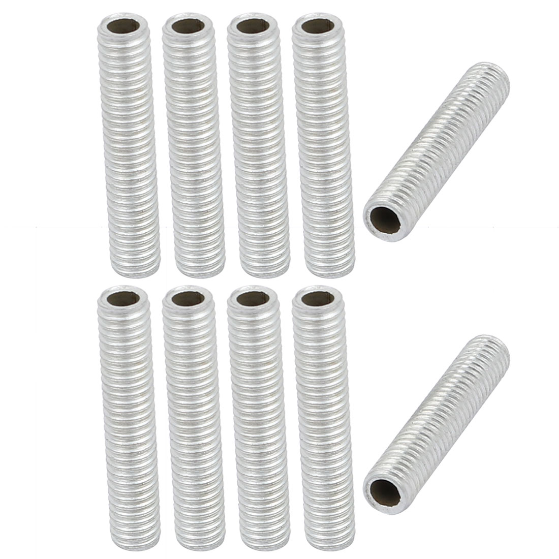 10Pcs M6 1mm Pitch Threaded Zinc Plated Pipe Nipple Lamp Parts 30mm Long