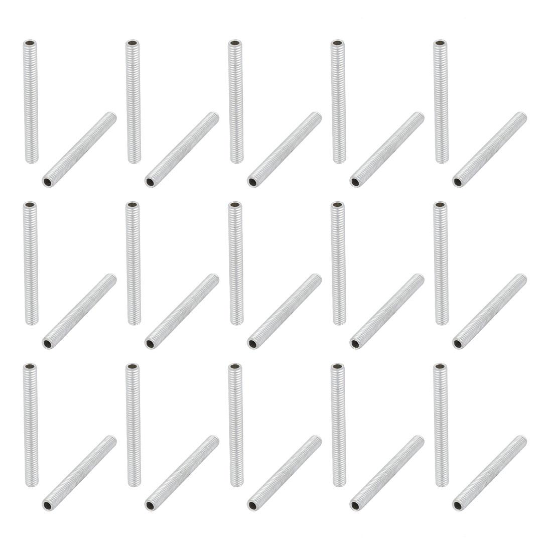 30pcs Metric M6 Thread Zinc Plated Hollow Pipe Nipple Lamp Repair Part 55mm Long