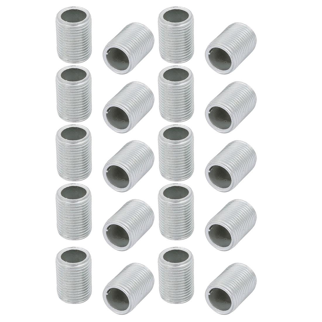 20 Pcs Metric M12 1mm Pitch Thread Zinc Plated Pipe Nipple Lamp Parts 15mm Long