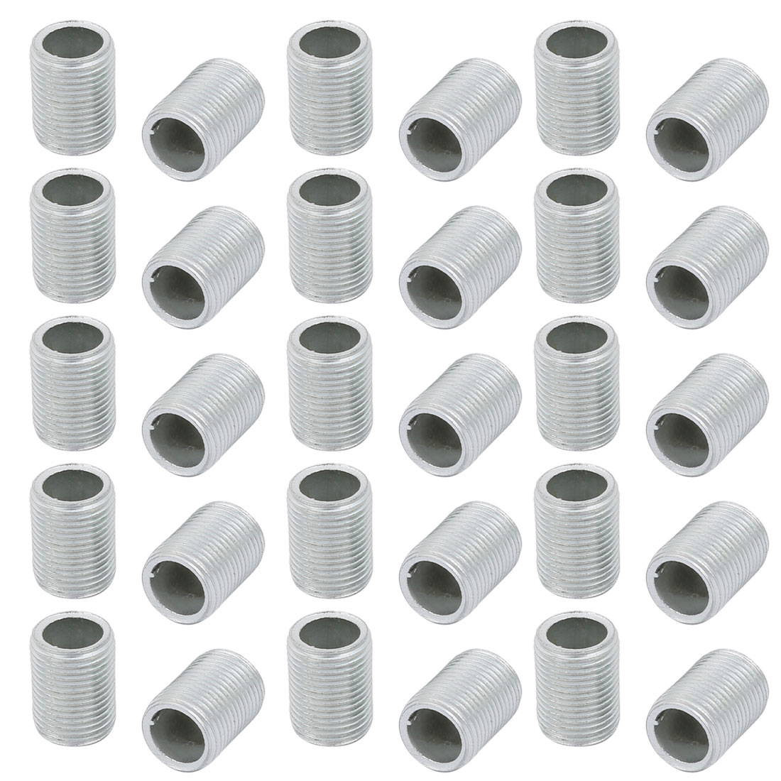 30 Pcs Metric M12 1mm Pitch Thread Zinc Plated Pipe Nipple Lamp Parts 15mm Long