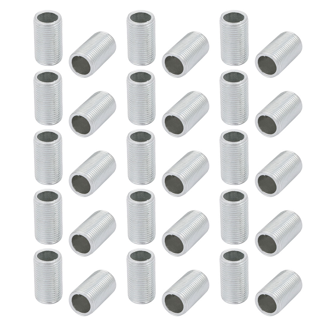 30 Pcs Metric M12 1mm Pitch Thread Zinc Plated Pipe Nipple Lamp Parts 20mm Long