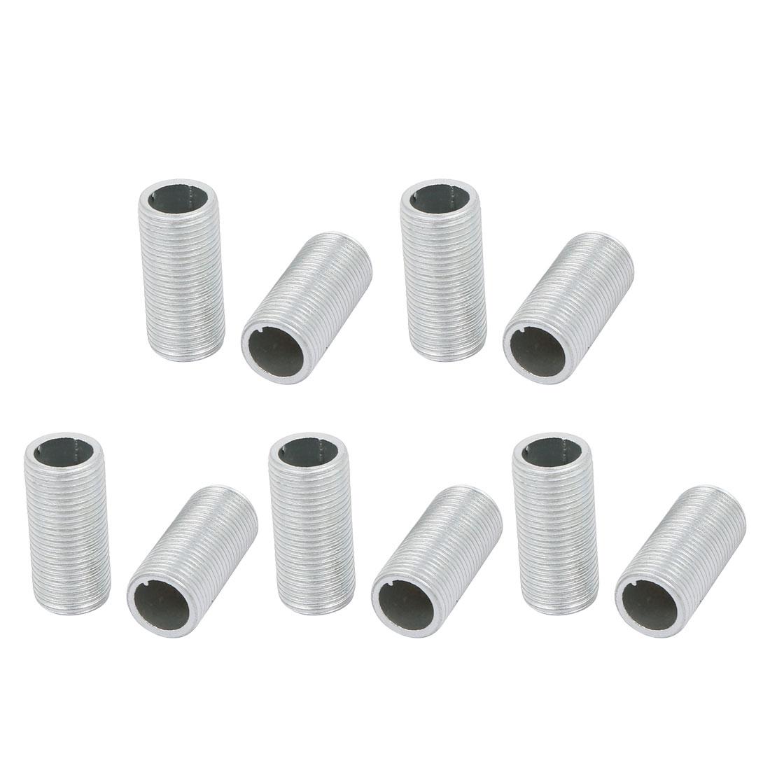 10Pcs M12 Full Threaded Lamp Nipple Pass-Through Pipe Connector 25mm Length