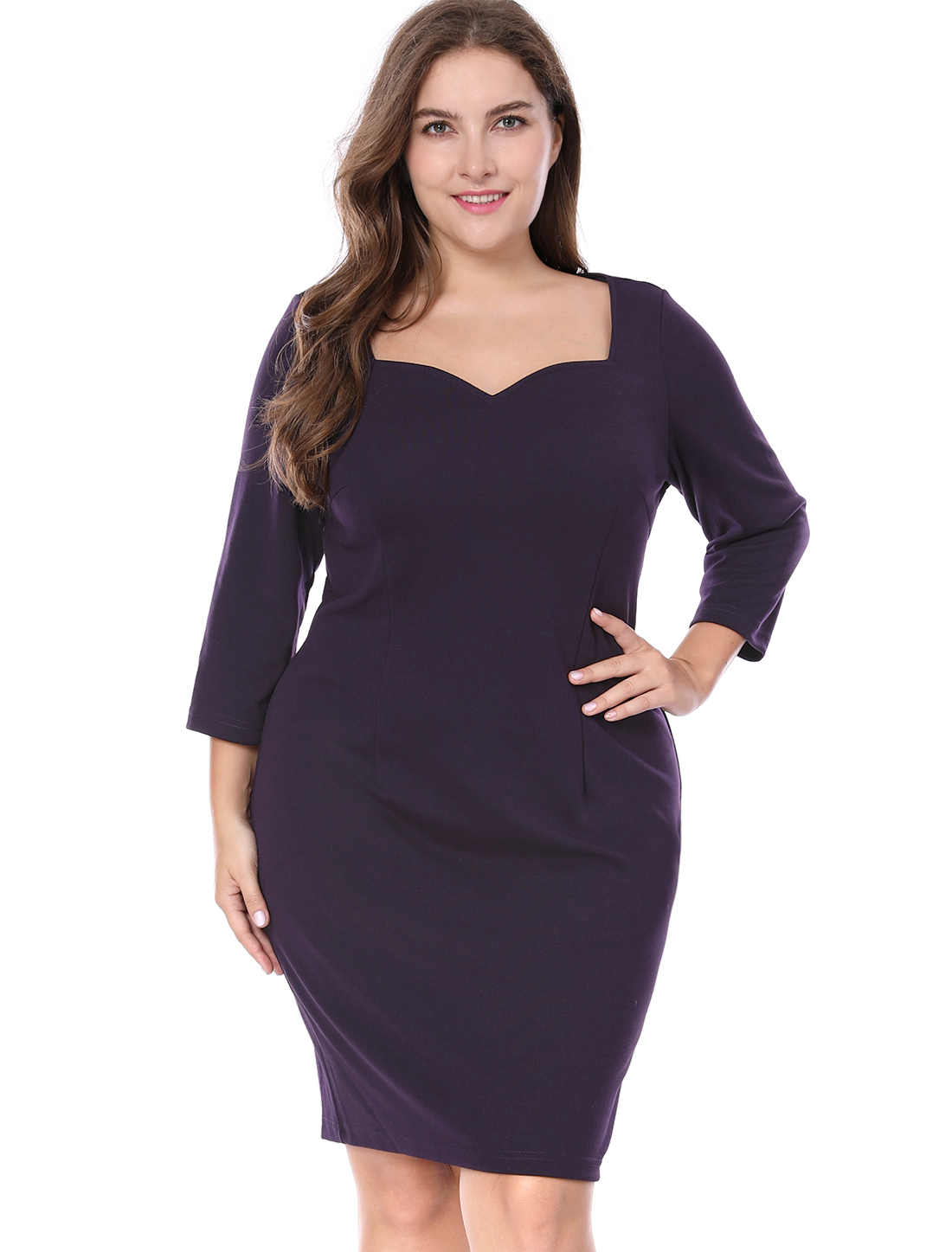 Women Plus Size Sweetheart Neckline 3/4 Sleeves Above Knee Slim Fit Dress Purple 1X