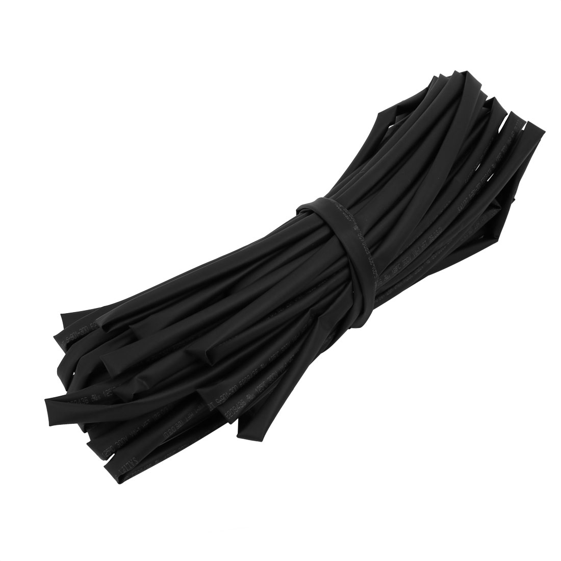 Heat Shrinkable Tube Wire Wrap Cable Sleeve 15M Length 6mm Inner Dia Black