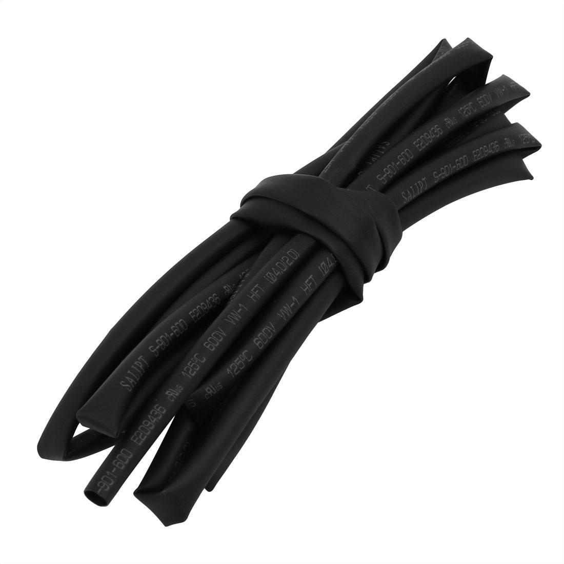 6.6Ft 0.16in Inner Dia Polyolefin Flame Retardant Tube Black for Wire Repairing
