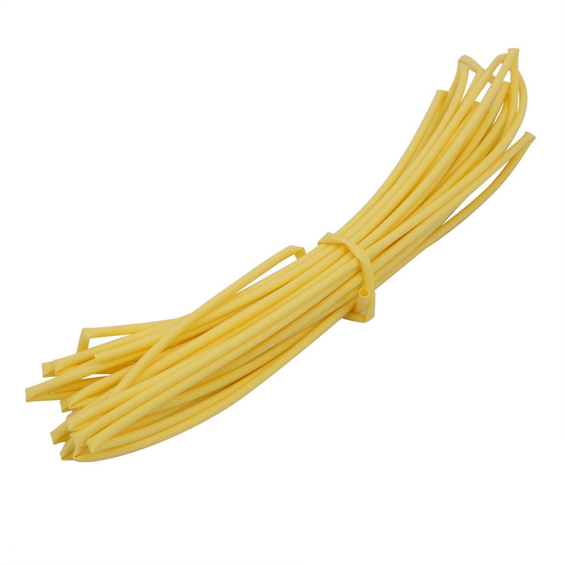 6M 0.06in Inner Dia Polyolefin Flame Retardant Tube Yellow for Wire Repairing
