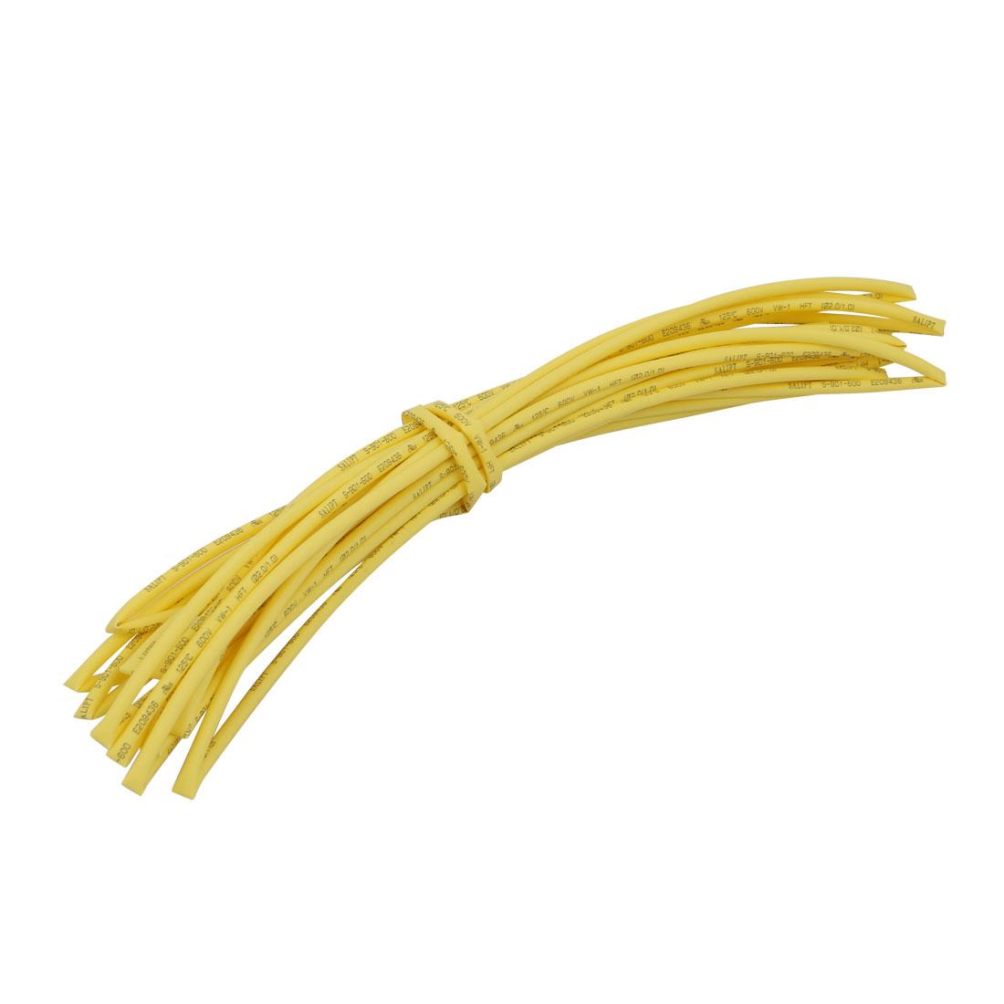 5M x 0.08in Inner Dia Polyolefin Flame Retardant Tube Yellow for Wire Repairing