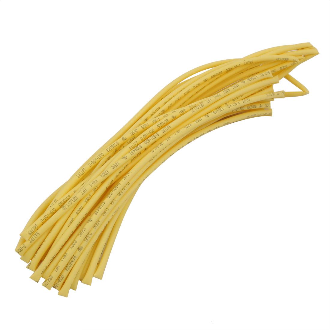8M 0.08in Inner Dia Polyolefin Flame Retardant Tube Yellow for Wire Repairing