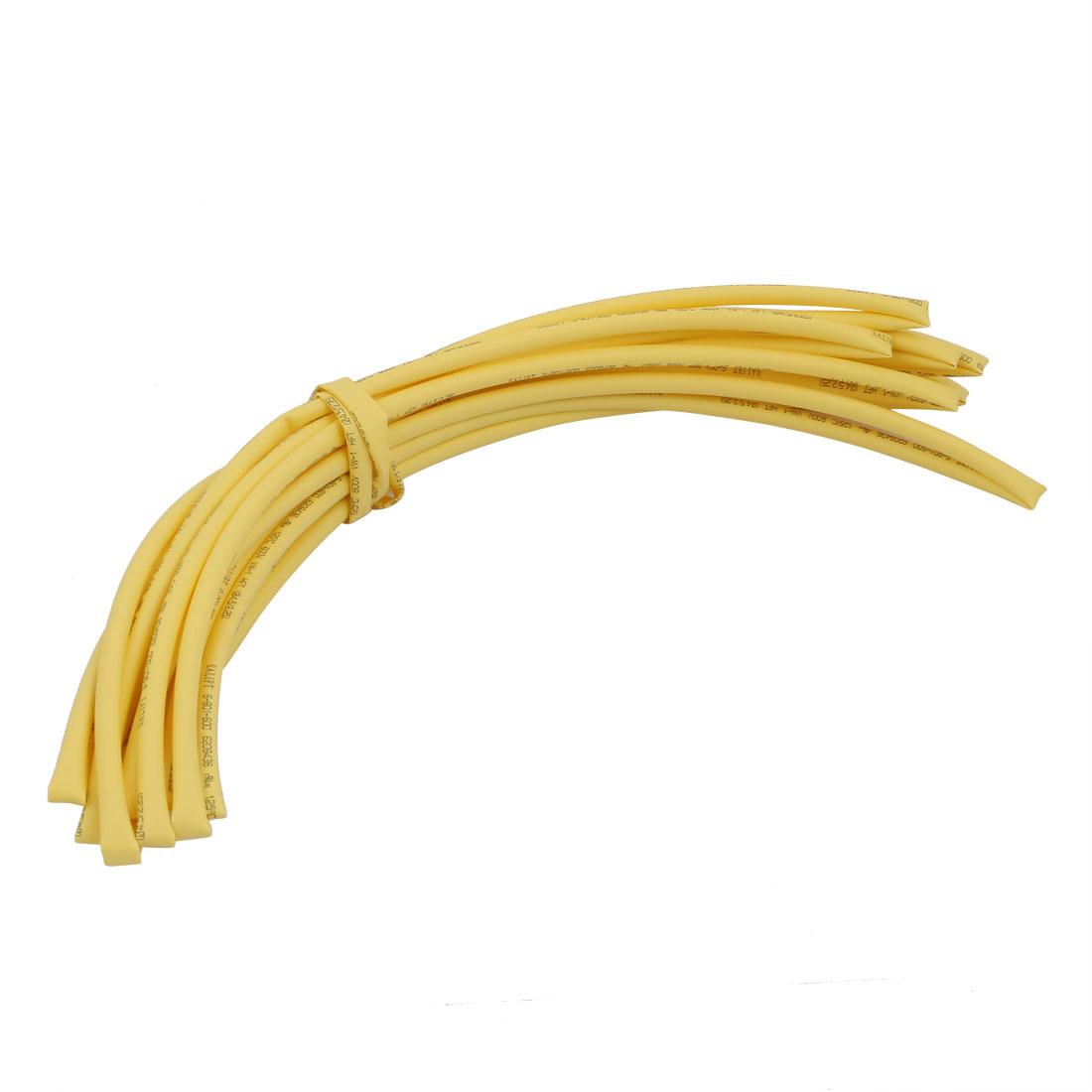 6M 0.18in Inner Dia Polyolefin Flame Retardant Tube Yellow for Wire Repairing