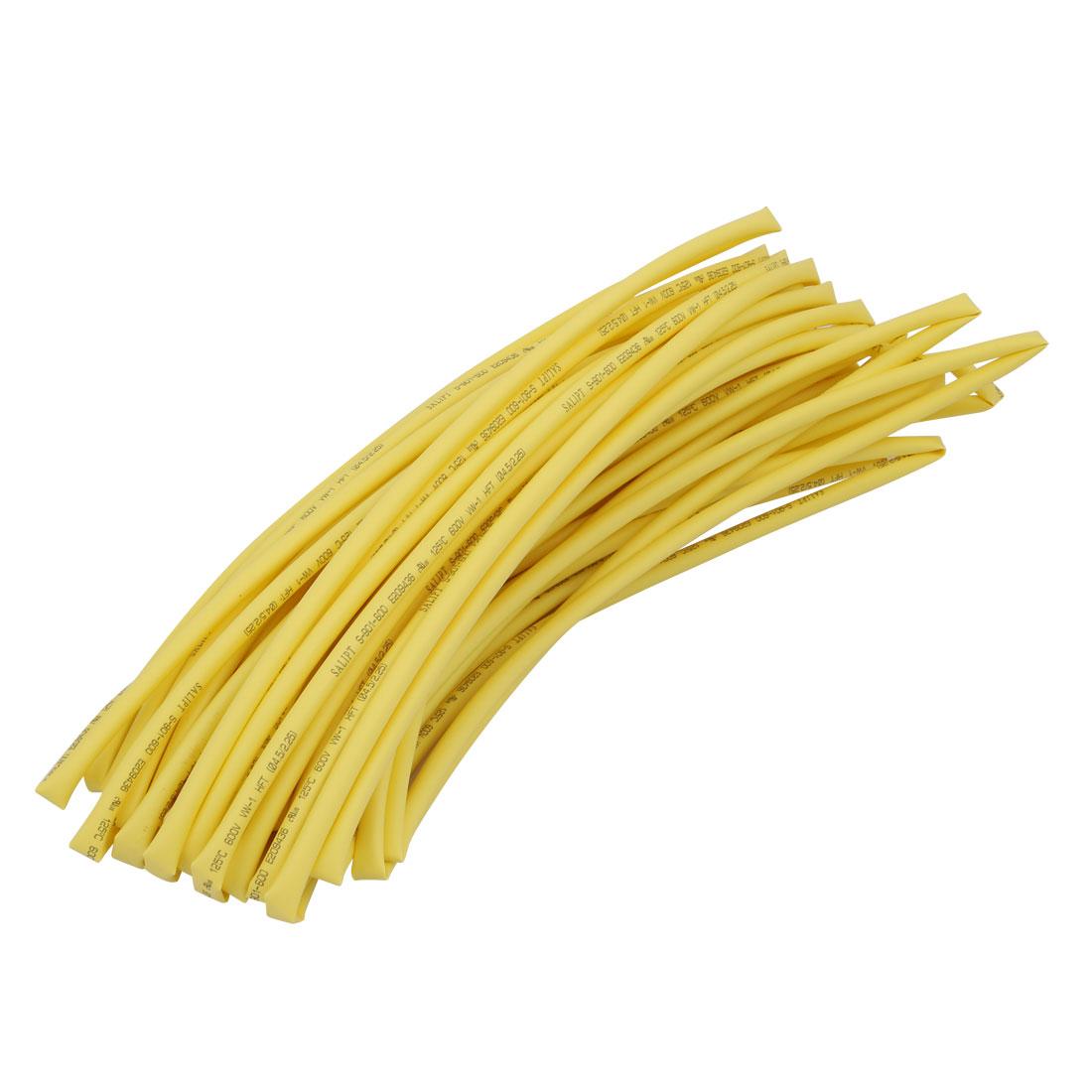 15M 0.18in Inner Dia Polyolefin Flame Retardant Tube Yellow for Wire Repairing