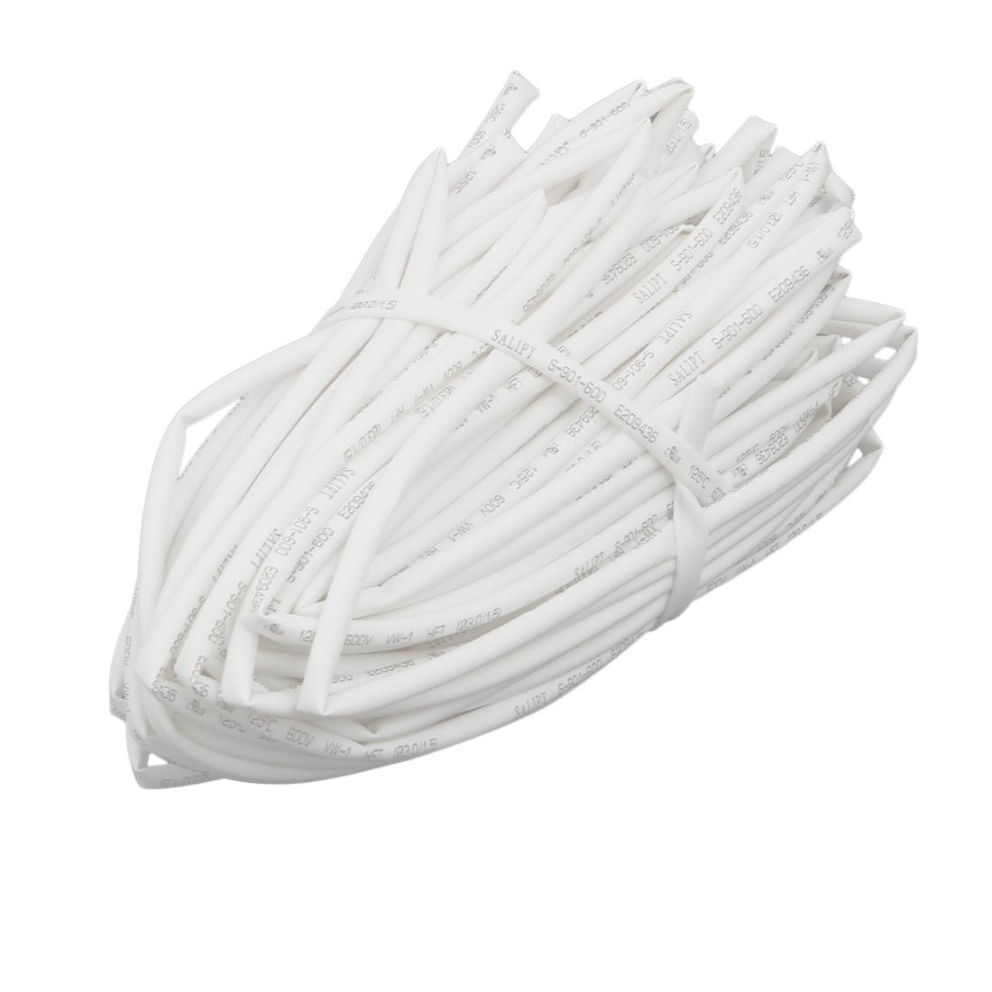 20M Long 3mm Inner Dia. Polyolefin Heat Shrinkable Tube White for Wire Repairing